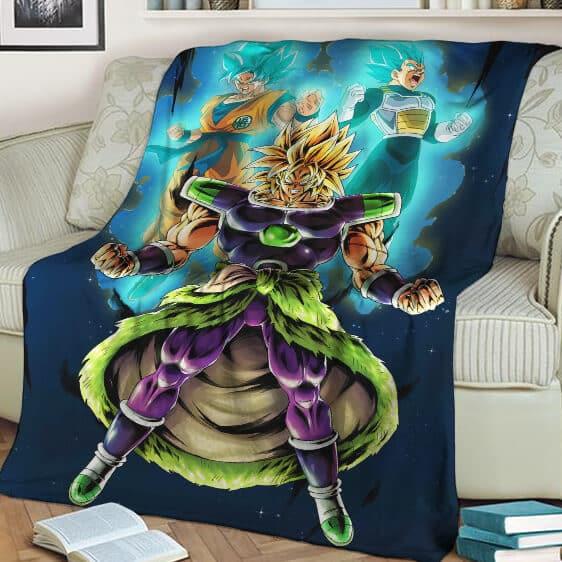 Dragon Ball Z Son Goku Vegeta Broly Super Saiyan Trio Cool Blanket
