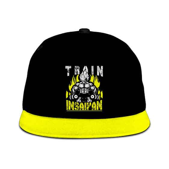 Dragon Ball Z Train Insaiyan Vegeta Black Neon Yellow Snapback Cap