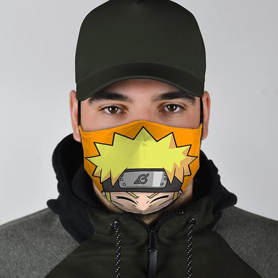 Funny Naruto Peeking Half Face Quirky Filtered Face Mask