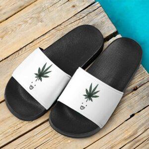 Funny Weed Smiley Marijuana Minimalist White Slide Sandals