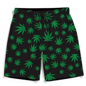 420 Ganja Weed Leaves Pattern Black Awesome Men's Boardshorts