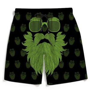 Gentleman Weed Beard Marijuana 420 Kush Black Beach Shorts