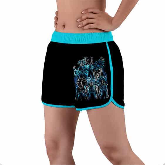 Goku All Saiyan Forms Blue Silhouette Women's Beach Shorts