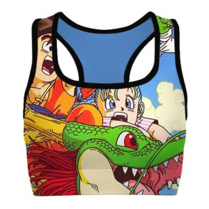 Goku and the Gang with Shenron DBZ Cool Awesome Sports Bra