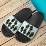 Green Cannabis Sativa Plant 420 Weed Marijuana Slide Sandals