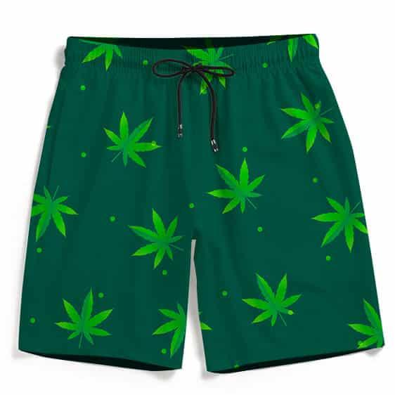 Green Cannabis Weed Pattern Minimal Art Marijuana Boardshorts