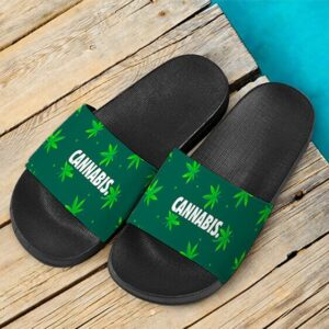 Green Cannabis Weed Pattern Art 420 Marijuana Slides Sandals