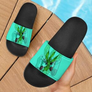 Weed on Playstation Controller Dope Art 420 Bud Slide Sandals