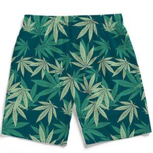 Hemp Leaves Marijuana Ganja Kush Elegant Men's Beach Shorts