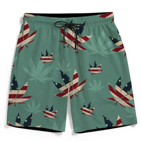 Weed Hemp 420 Leaf American Flag Teal Men's Beach Shorts