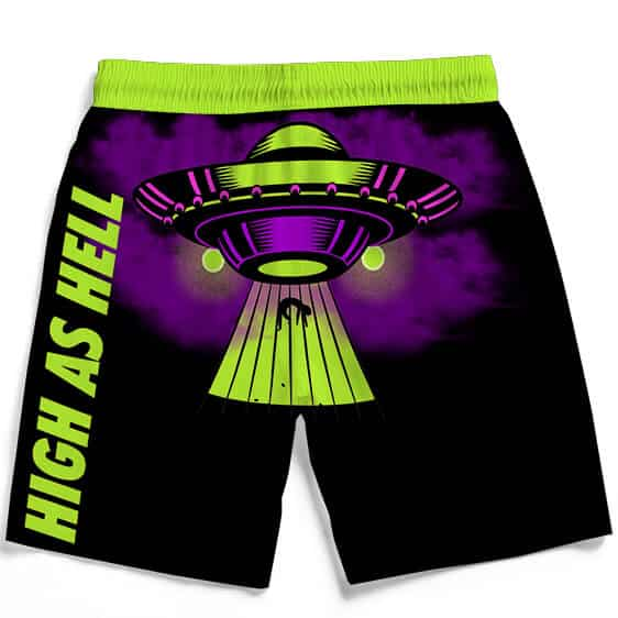 High As Hell Alien Abduction Art 420 Marijuana Black Shorts