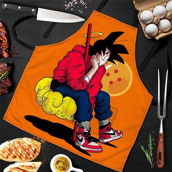 Hip Son Goku Sitting on Nimbus Dragon Ball Z Awesome Apron