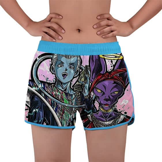Hip Whis And Lord Beerus Dope Fan Art Women's Beach Shorts