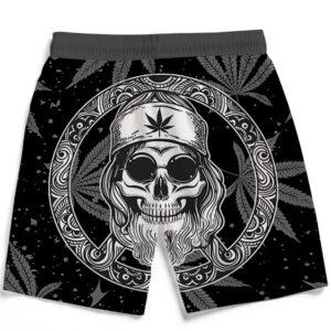 Hippie Skull Marijuana Leaves Art Dope Black Beach Shorts