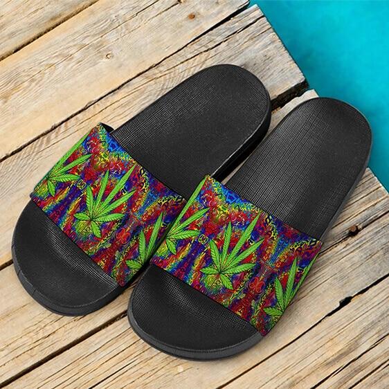 Hippie Style Colorful Marijuana Design Trippy Slide Sandals