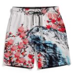 Japanese Art Painting Cherry Marijuana Blossoms 420 Beach Shorts