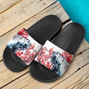 Japanese Painting Cherry Marijuana Blossoms 420 Slide Sandals