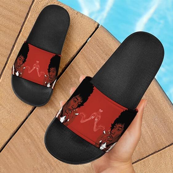 Jimi Hendrix Smoking Weed Joint Simple Art 420 Slide Sandals