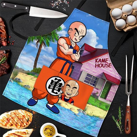 Krillin Kanji Kame House Island Dragon Ball Z Awesome Apron