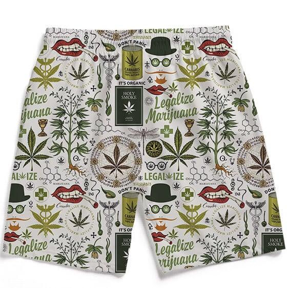 Legalize Marijuana Seamless Pattern Dope Men's Beach Shorts