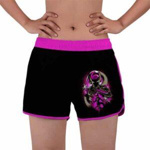 Lord Frieza Purple Silhouette DBZ Black Women's Beach Shorts