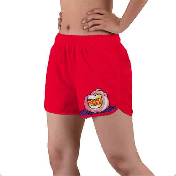 Majin Buu Eating The Dragon Balls Red Women's Beach Shorts