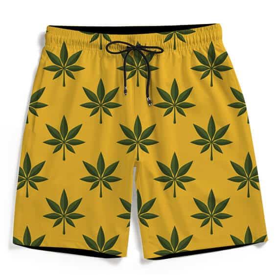 420 Marijuana Weed Seamless Pattern Superb Men's Beach Shorts