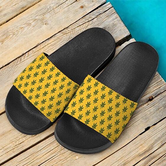 Marijuana 420 Weed Yellow Seamless Pattern Cool Slide Sandals