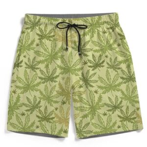 Breezy Marijuana Hemp Seamless Pattern Men's Beach Shorts