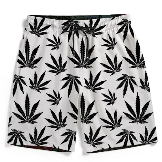 Cool White Black Marijuana Pattern Awesome Men's Beach Shorts