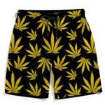 Marijuana Cool Yellow Black Pattern Awesome Men's Beach Shorts