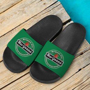 Marijuana Heineken Logo Spoof Green 420 Weed Slide Sandals