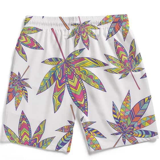 Marijuana Leaf Rainbow Colors Print White Men's Beach Shorts