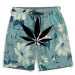 Beautiful Floral Marijuana Leaf Teal Men's Beach Shorts