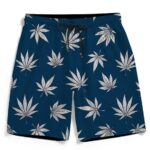 Cool Marijuana Leaves All Over Print Dark Blue Boardshorts