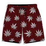 Stylish Silver Marijuana Leaves Print Dark Red Men's Shorts