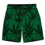 Dope Minimalist Marijuana Leaves Dark Green Men's Beach Shorts