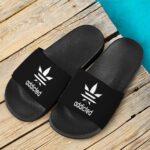 Weed Adidas Addicted Logo Black 420 Marijuana Slide Sandals