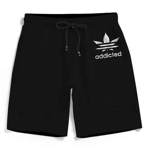 Marijuana Weed Adidas Addicted Logo Black Men's Beach Shorts
