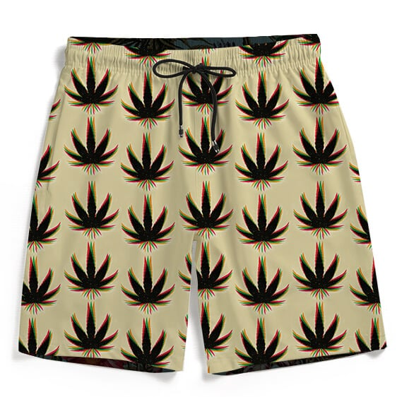 Amazing Marijuana Weed Trippy Colors Men's Beach Shorts