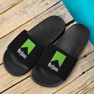 Marlboro Logo Awesome Green Marijuana Spoof Weed Slide Sandals