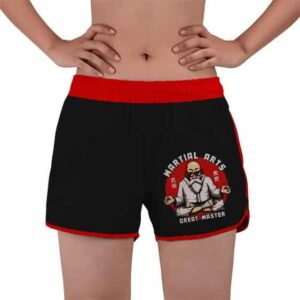Martial Arts Great Master Roshi Black Women's Beach Shorts