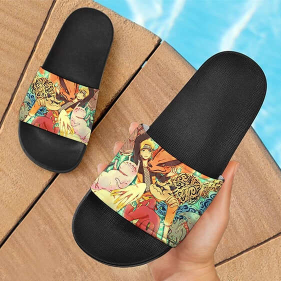 Naruto Chilling With Tailed Beasts Cute Colorful Slide Footwear