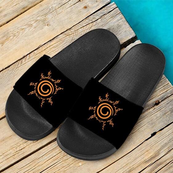 Naruto Uzumaki Eight Trigrams Seal Orange Black Slide Sandals