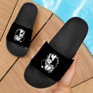 Naruto Uzumaki Sasuke Uchiha Monochrome Design Slide Sandals