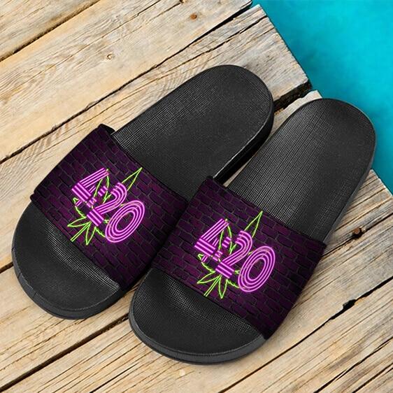 Neon 420 Marijuana Retro Brick Wall Weed Dope Slides Sandals