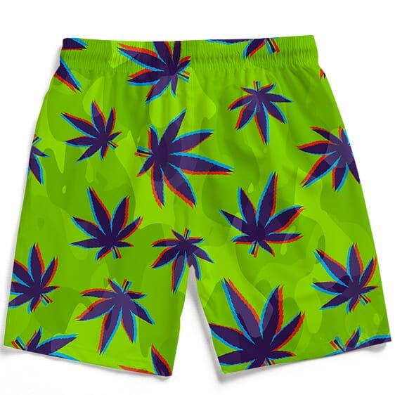 Neon Green Camouflage 3D Weed Pattern 420 Marijuana Beach Shorts