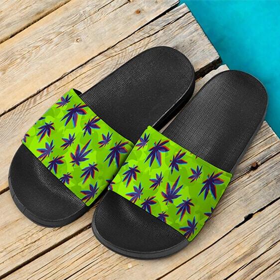 Neon Green Camouflage Weed Pattern Marijuana Slides Sandals