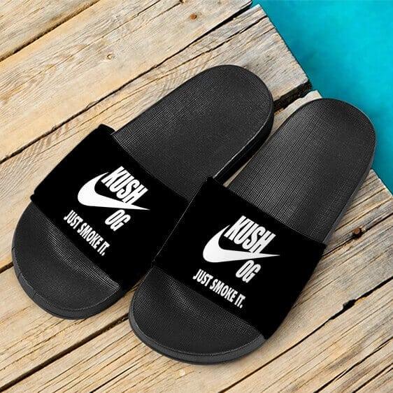 OG Kush Just Smoke It Nike Themed Marijuana Dope Slide Sandals