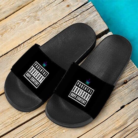 Advisory Dope Content 420 Marijuana Weed Slide Sandals